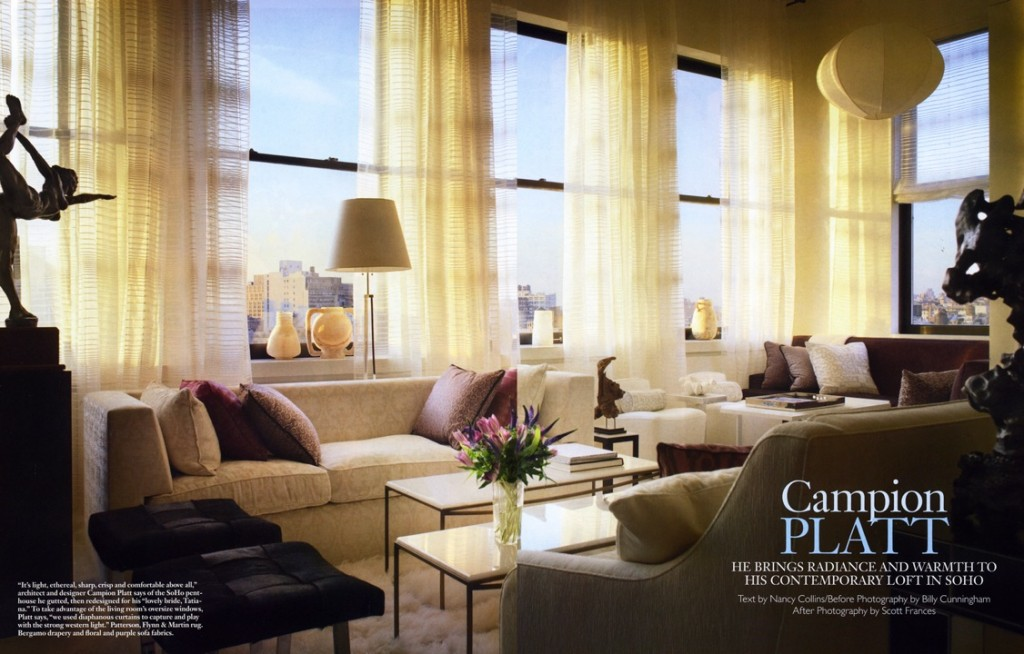 """""""The Visionary"""" - by Paige Bradley in Campion Platt's loft, NYC. Architectural Digest."""