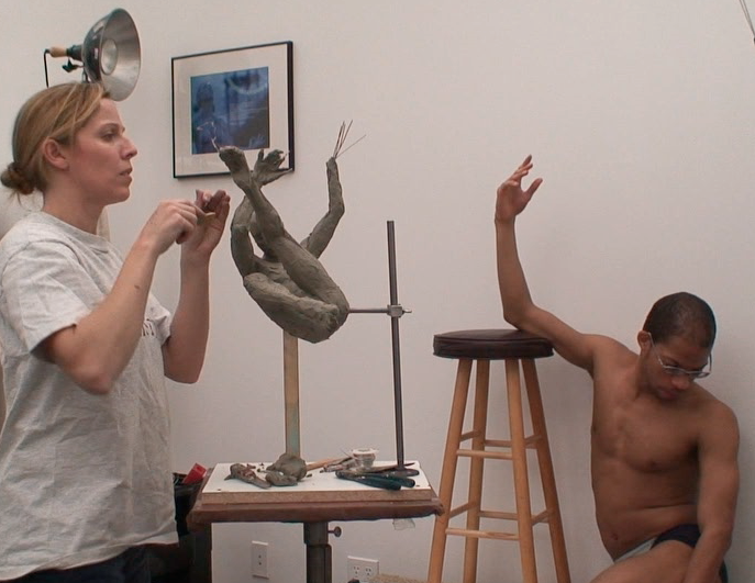 Paige Bradley & Michael Walters (model) working on Dreamer, 2007