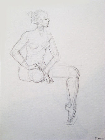 Dancer at Rest, Graphite on Paper