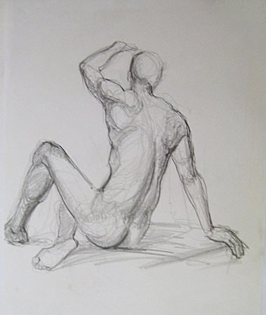 Male Back Study, Graphite on Paper