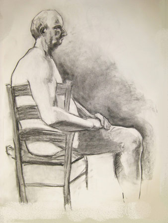 Profile of Seated Man, Charcoal on Paper