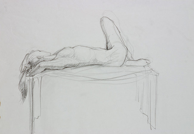 Repose, Graphite on Paper