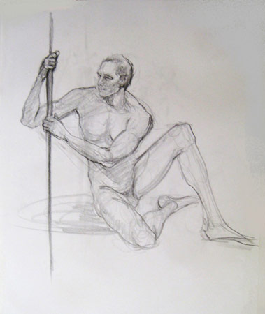Seated Man with Support, Graphite on Paper