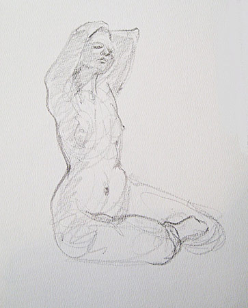 Seated Woman, Five Min. Study, Graphite on Paper