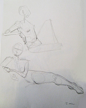 Two Females Reclining, 2 Min. Study, Graphite on Paper