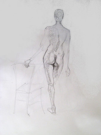 Female Back with Chair, Graphite on Paper