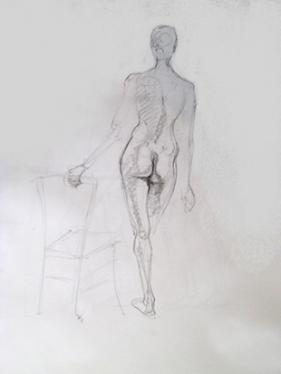 Female Back with Chair , Graphite on Paper