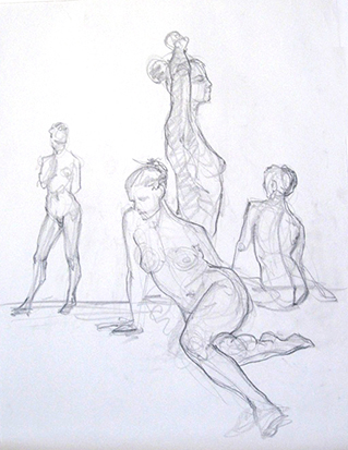 Feminine Group , Graphite on Paper