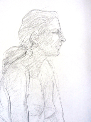 Girl with Ponytail , Graphite on Paper