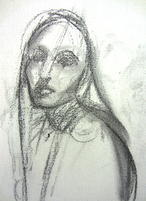 Portrait Study, Girl with Long Hair , Charcoal on Canvas