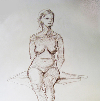 Quietly Sitting , Conté on Paper