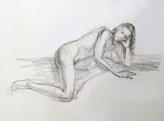 Reclining Nude , Graphite on Paper