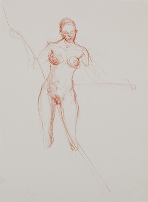 Study with Ropes No. 4 , Conté on Paper