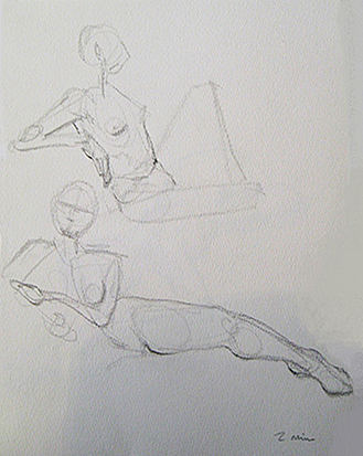 Two Females Reclining,<br />Two Min. Study , Graphite on Paper