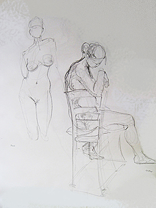 Two Women and Chair,<br />Thirteen Min. Study , Graphite on Paper