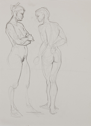 Two Women<br />Standing No. 1 , Graphite on Paper