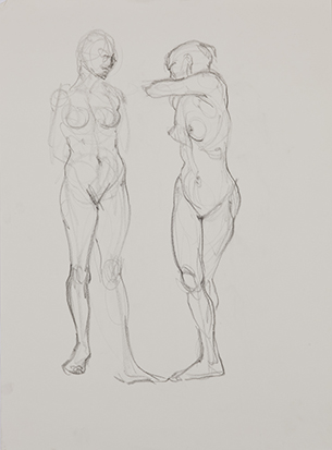 Two Women<br />Standing No. 2 , Graphite on Paper