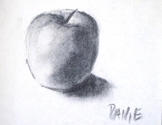 Apple , Charcoal on Paper
