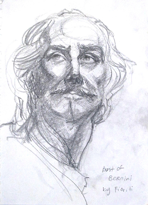 Bernini Bust , Graphite on Paper