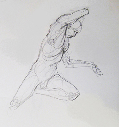 Contraposto Study from a Rodin Vessel No. 1 , Graphite on Paper
