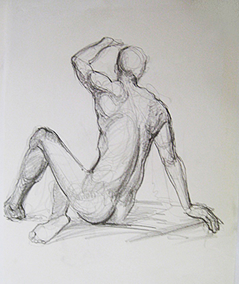 Male Back Study , Graphite on Paper