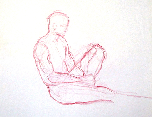 Man in Repose , Graphite on Paper