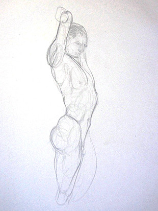 Stretching Man , Graphite on Paper