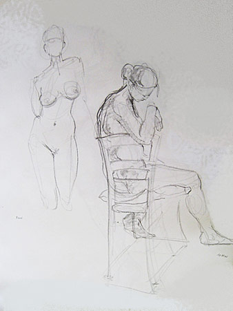 Two Women and Chair, 13 Min. Study, Graphite on Paper