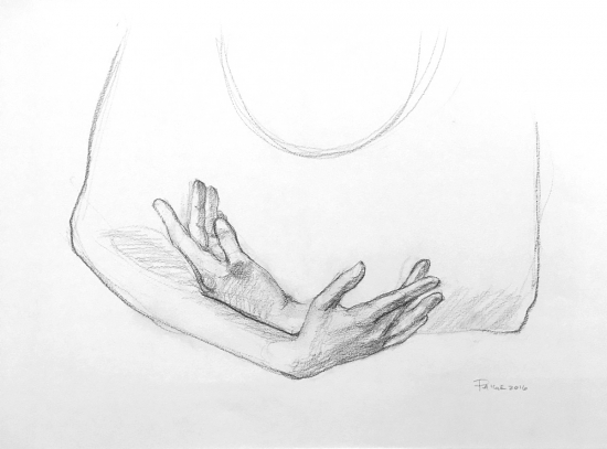 Dancer's Hands, Graphite/Charcoal