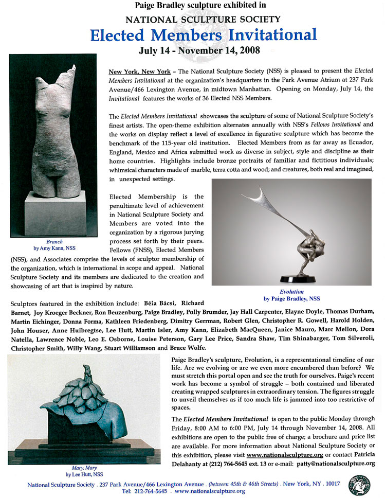 NATIONAL SCULPTURE SOCIETY 75th Annual Exhibition | Paige Bradley Sculpture